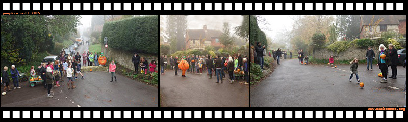 Nutbourne's first ever pumpkin roll, which took place on Sunday 1 November 2015.  We hope this will become the first of a long tradition for the village